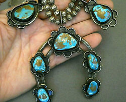 Old Native American Turquoise Sterling Silver Squash Blossom Naja Bead Necklace