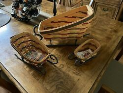 Set Of 3 Longaberger Sleigh Baskets With Wrought Iron Runners