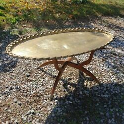1950s Moroccan Mid-century Tea Coffee Tray Table Wood Folding Legs And Brass Top