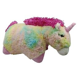 Pillow Pets Unicorn Pastel Rainbow Plush Cushion Soft Toy Washed And Clean 42cm