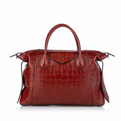 Pre-loved Givenchy Brown Calf Leather Large Antigona Croc Embossed Satchel Italy