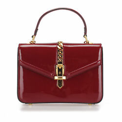 Pre-loved Red Patent Leather Sylvie 1969 Satchel Italy