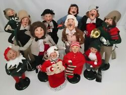 11 Byers Choice Carolers And03990/and03989 Fezziwig Girl Wteddy Tiny Tim Cratchit 1st Ed