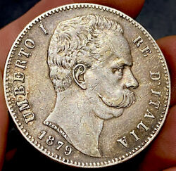 Italy 1879 Silver 5 Lire Extremely Fine