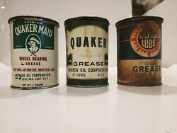 3 Vintage Quaker Maid Quaker Oil Wheel Bearing Ultra Lube Pound Grease Cans