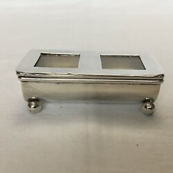 Solid Silver Double Stamp Box By Griffiths And Singleton, Birmingham, 1904