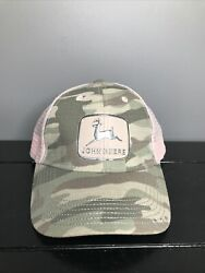 John Deere Pink And Camo Woman's Size One Adjustable Ball Cap Hat