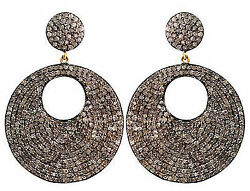 Antique Victorian Inspired 925 Silver 3.20ct Rose Cut Diamond Earrings O731