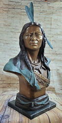 Life Size Indian Bronze Bust By World Renowned Sculptor Charles Russell Figure