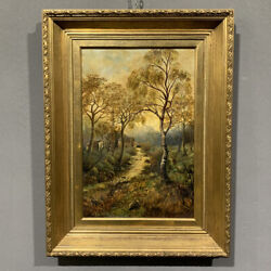 Antique Painting Oil On Canvas G.wright Paesaggio With Hunter Xix Century