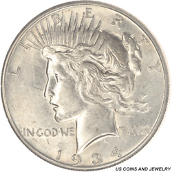 1934-s Peace Silver Dollar, Circulated, Choice About Uncirculated+ Nice Luster