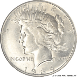 1934-s Peace Silver Dollar, Circulated, Choice About Uncirculated - Very Nice L
