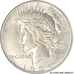 1934-s Peace Silver Dollar, Circulated, About Uncirculated, Nice Luster