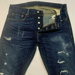 Denim And Supply Distressed Slim Button Fly Jeans 34x30