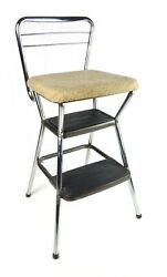 Vintage Cosco Kitchen Step Stool Chair Retro Metal Pull Out Steps Chrome