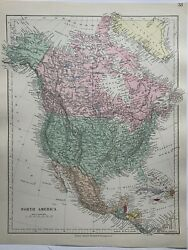 1882 North America Hand Coloured Antique Map From Stanford's London Atlas