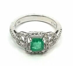 Natural Emerald 0.89ct. And Diamonds 0.54ct. White Gold 18k. Fine Ring Size M