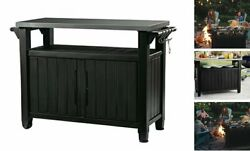 Unity Xl Portable Outdoor Table And Storage Table And Cabinet Dark Grey