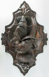 26 Large German Swiss Black Forest Carved Game Bird Plaque Walnut Quail Hunting