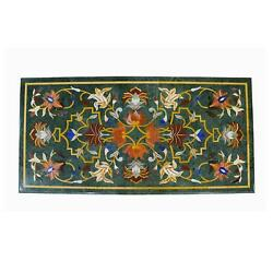3and039x2and039 Green Marble Table Top Corner Center Inlay Home Room Decor Antique Gn