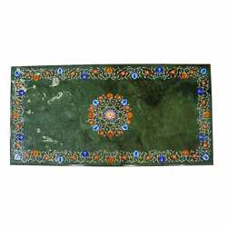 3and039x2and039 Green Marble Table Top Corner Center Inlay Home Room Decor Antique L8