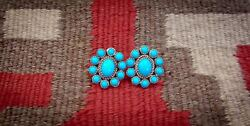 Navajo Sterling Silver Turquoise Cluster Post Earrings
