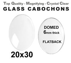 20x30mm Oval Glass Cabochons - 30x20 Crystal Clear Domes Cabs - Free Shipping