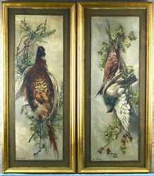 Xl 42.5 Pair Antique Flemish Oil Panel Hunting Trophy Painting Birds Signed