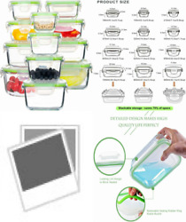 Glass Food Storage Containers With Lids, [24 Piece] Airtight Clear