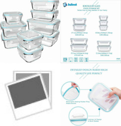 18 Piece Glass Food Storage Containers With Lids, Meal Prep Clear