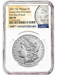 2021-cc 1 Morgan Dollar Carson City Privy Mark First Day Of Issue Ngc Ms70