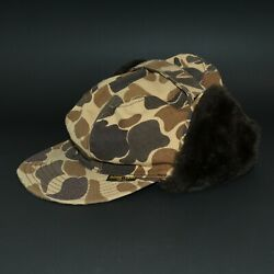 Vintage Gore Tex Duck Camo Hunting Hat Woodland Ear Flap Camouflage Cap