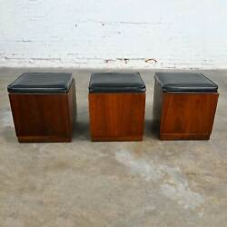 Mcm 3 Walnut Cube Stools Black Upholstered Tops By Jack Cartwright For Founders