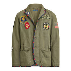 Polo Mens Chino Graphic Chore Military Officers Jacket Green 2xl