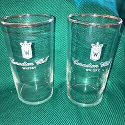 Pair Vintage Canadian Club Whisky High Low Ball Glass, 1960s, Unused. 4 1/4 In.