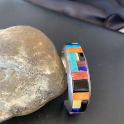 Mens Native Am Navajo Sterling Silver Turquoise Spiny Corn Inlay Bracelet 1574