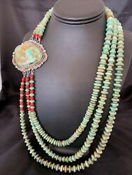 Statement Navajo Royston Turquoise Coral Sterling Silver Pendant Necklace 10416