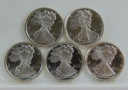 Lot Of 5 American Eagle Style Fractional 999 Fine Silver 1/10 Oz Rounds C2808