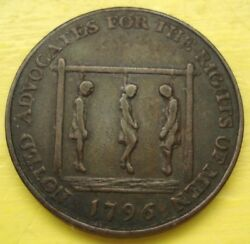1796 Thomas Paine And Two Others Hanging Conder Halfpenny Token