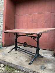 1920s Cole Industrial Cranking Cast Iron Drafting Table Desk Art Easel Antique