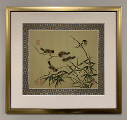 A Chinese Framed Wall Art Painting Classical Style Signed With Birds On Bamboo