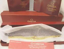 14 K Gold Omega Quartz Wrist Watch Braided Rope Chain Bracelet Boxes And Papers