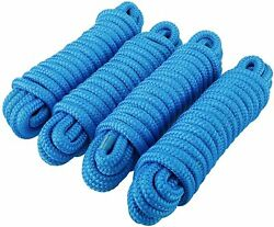 4-pack 3/8 Inch 20 Ft Double Braid Nylon Dock Line Mooring Rope Anchor Line Blue