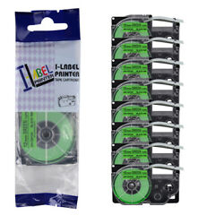 8pk Compatible With Casio Xr-12fgn Kl-120 Black On Fluorescent Green Label Tape