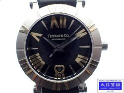 Tiffanyandco. Watches Atlas Silver Black Stainless Steel Leather Calendar 060922