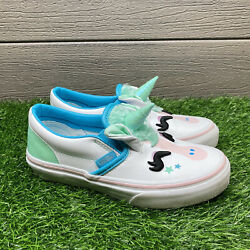 Size 1 VANS Classic Slip On Unicorn Girls Athletic Shoes Leather Sneakers $29.95