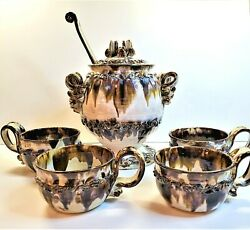Vintage 1970s Signed Delwaide Soup Tureen And 4 Bowls Handmade Drip Pottery Large