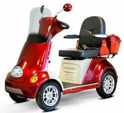 Red 4 Wheel Electric Mobility Scooter 500lbs Capacity Alarm Stereo Storage Led