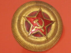 Orig.soviet Red Army Military General Ww2 Hat Cap Metal Pin Badges Brass Cockade