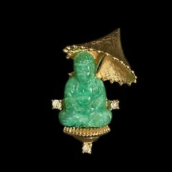 Jomaz Figural Brooch With Green Molded Glass Buddha